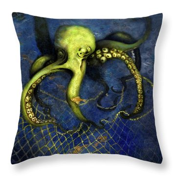 Lime Green Octopus With Net Throw Pillow