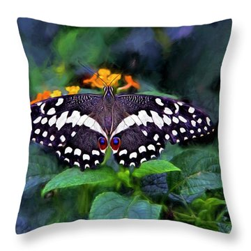 Lime Swallow Tail Throw Pillow by James Steele