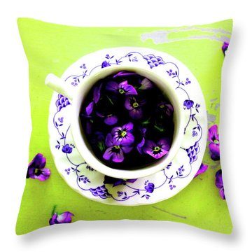 Lime Violet Tea Cup Throw Pillow