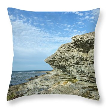 Throw Pillow featuring the photograph Limestone Cliffs by Kennerth and Birgitta Kullman