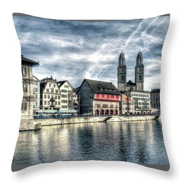 Throw Pillow featuring the photograph Limmat Riverfront by Jim Hill