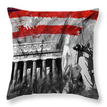 Throw Pillow featuring the painting Lincoln Abe by Gull G