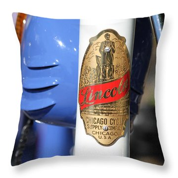 Lincoln Chicago Cycle Supply Company Throw Pillow by Lauri Novak