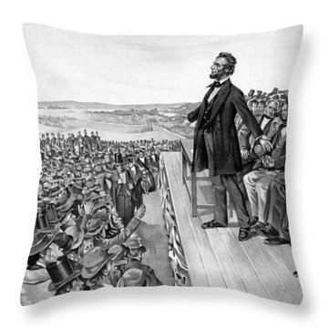 Lincoln Delivering The Gettysburg Address Throw Pillow by War Is Hell Store