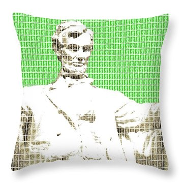 Lincoln Memorial - Green Throw Pillow