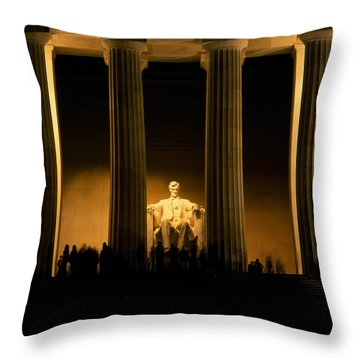 Lincoln Memorial Illuminated At Night Throw Pillow by Panoramic Images