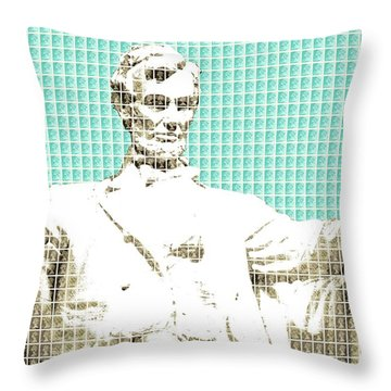 Lincoln Memorial - Light Blue Throw Pillow