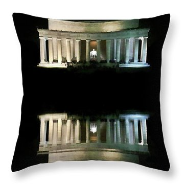 Lincoln Memorial Throw Pillow by Lorella Schoales