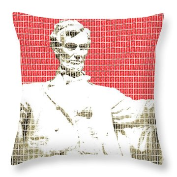 Lincoln Memorial - Red Throw Pillow
