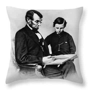 Lincoln Reading To His Son Throw Pillow