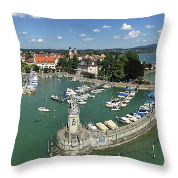 Lindau Bodensee Germany Harbor Panorama Throw Pillow