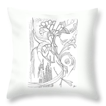 Flowing Floating Flora Throw Pillow by Charles Cater