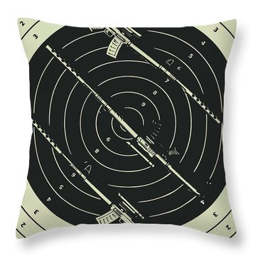 Line Art Rifle Range Throw Pillow