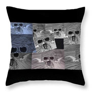 Line Skulls Collage Throw Pillow
