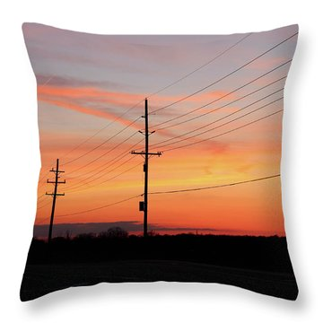 Lineman's Sunset Throw Pillow