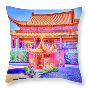 Lingyen Mountain Temple 12 Throw Pillow by Lawrence Christopher