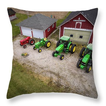 Lining Up The Tractors Throw Pillow