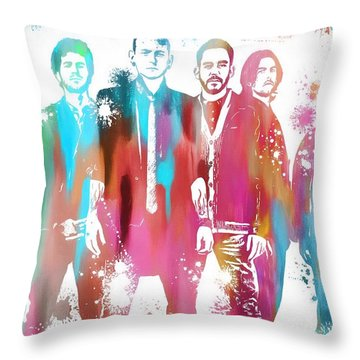 Linkin Park Watercolor Paint Splatter Throw Pillow by Dan Sproul