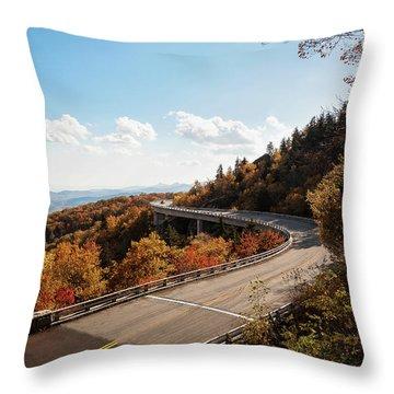 Linn Cove Viaduct Throw Pillow by Deborah Scannell
