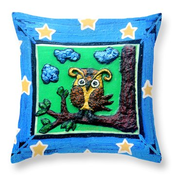 Lint Owl Throw Pillow by Genevieve Esson