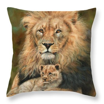 Lion And Cub Throw Pillow by David Stribbling
