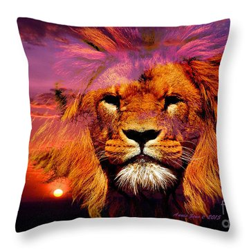 Lion And Eagle In A Sunset Throw Pillow