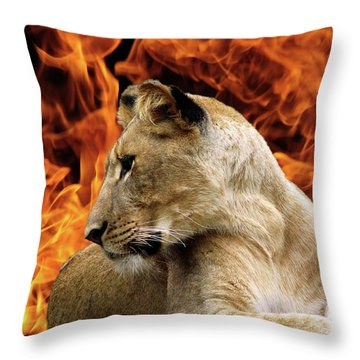 Lion And Fire Throw Pillow