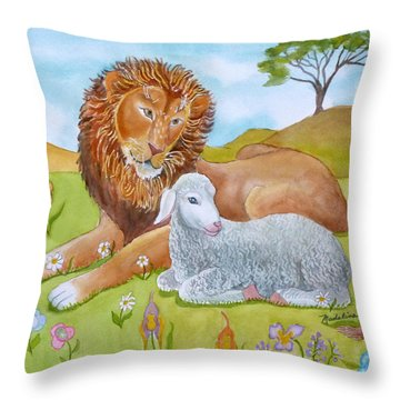 Lion And Lamb In A Meadow Throw Pillow