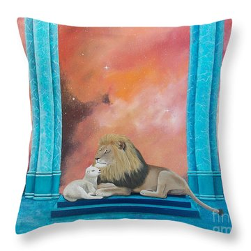 Lion And Lamb Throw Pillow