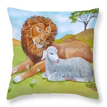 Lion And Lamb With Daises Throw Pillow