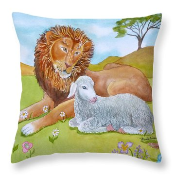 Lion And Lamb With Flowers Throw Pillow