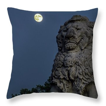 Lion And The Moon Throw Pillow