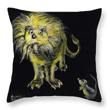 Lion And The Mouse Throw Pillow