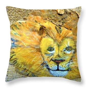 Lion Throw Pillow by Ann Michelle Swadener