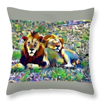 Lion Buddies Throw Pillow