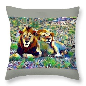 Lion Buddies Throw Pillow