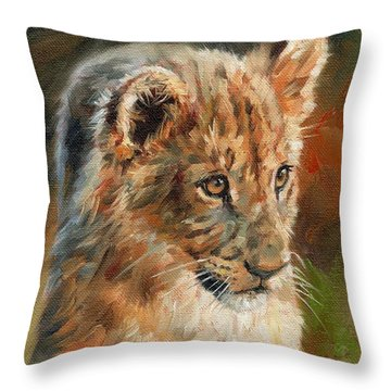 Lion Cub Portrait Throw Pillow by David Stribbling
