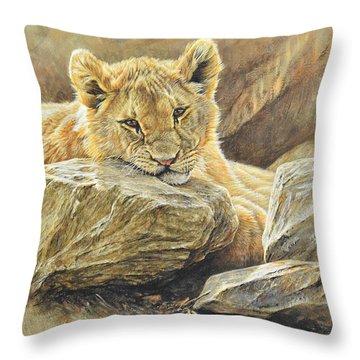 Lion Cub Study Throw Pillow