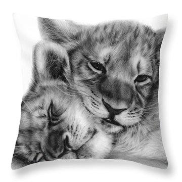 Lion Cubs Throw Pillow