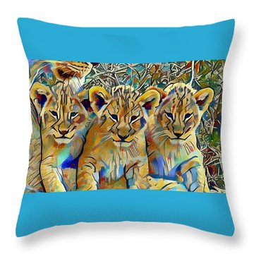 Lion Cubs Throw Pillow