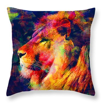 Lion Throw Pillow by Elena Kosvincheva
