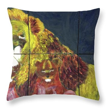 Throw Pillow featuring the painting Lion Family by Donald J Ryker III