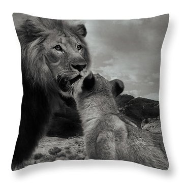 Throw Pillow featuring the photograph Lion Family Panorama by Christine Sponchia