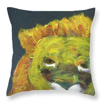 Throw Pillow featuring the painting Lion Family Part 1 by Donald J Ryker III