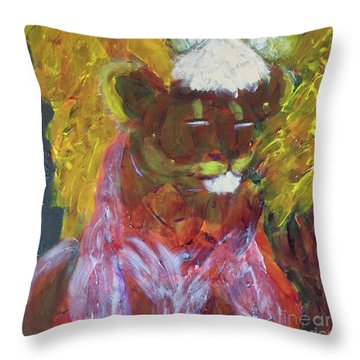 Throw Pillow featuring the painting Lion Family Part 4 by Donald J Ryker III