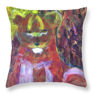 Throw Pillow featuring the painting Lion Family Part 5 by Donald J Ryker III