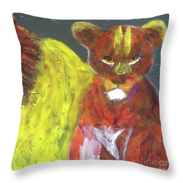 Throw Pillow featuring the painting Lion Family Part 6 by Donald J Ryker III