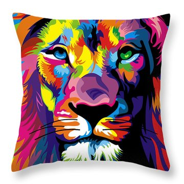 Lion Fool Colors  Throw Pillow