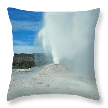 Lion Geyser Yellowstone Throw Pillow