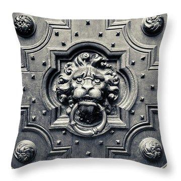 Lion Head Door Knocker Throw Pillow by Adam Romanowicz